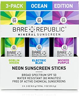 product image for Bare Republic Mineral Sunscreen and Sunblock Neon Stick, Skin Care with Zinc Oxide, Broad Spectrum SPF 50, Ocean 3 Pack, 0.3 Oz Each
