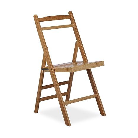 Relaxdays Chaise pliante en bambou chaise de jardin en bois pliable ...