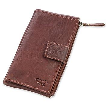 66dfcfb93584e Safekeepers Leder Damengeldbörse – Portemonnaie mit Handyfach und  Clipverschluss für iPhone 8 – große Damen geldbörse