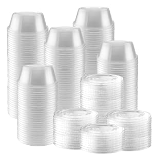 100-Pack of 3.25 Ounce Clear Plastic Jello Shot Cup Containers with Snap on Leak-Proof Lids –Jello Shooter Shot Cups -Compact Food Storage for Portion Control, 3.25 oz,Sauces, Liquid, Dips