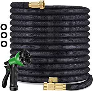 25 ft Garden Hose - Upgraded Expandable Water Hose with Double Latex Core, 3/4 Solid Brass Connectors, 8 Pattern Spray Nozzle - New Flexible Expanding Hose