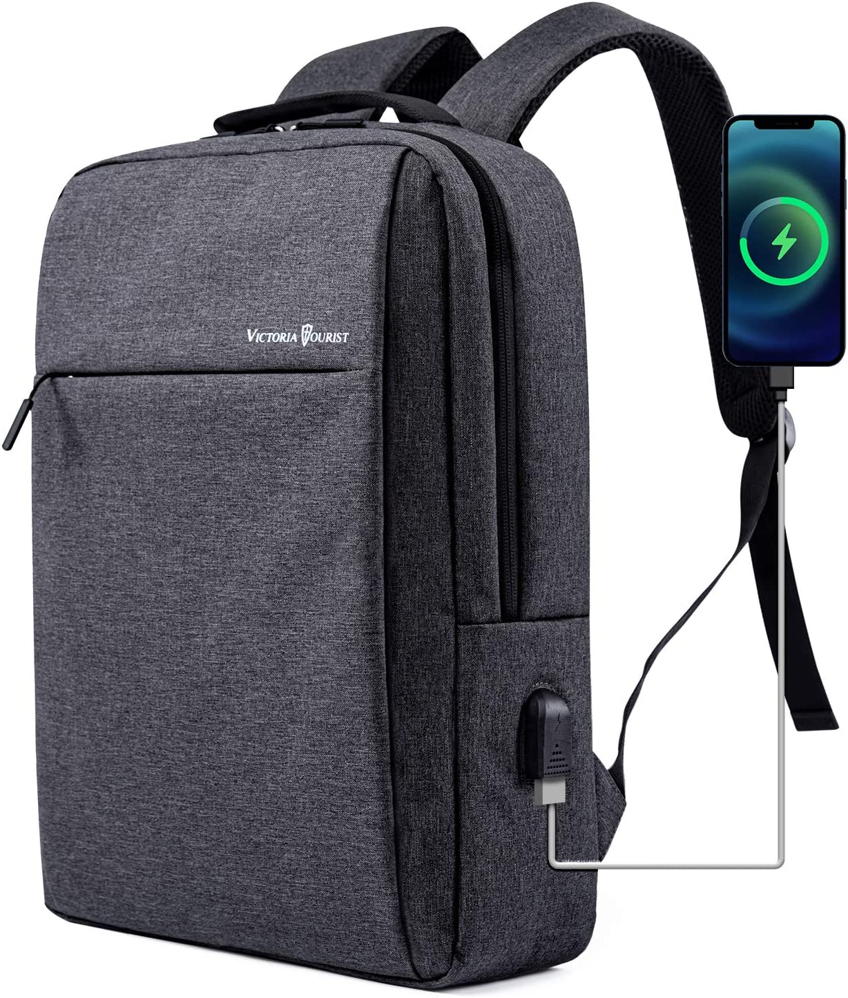Laptop Backpack 15.6 Inch, Business Slim Durable Laptops Travel Backpacks with USB Charging Port, College School Computer Bag Gifts for Men and Women Fits Notebook (Grey)