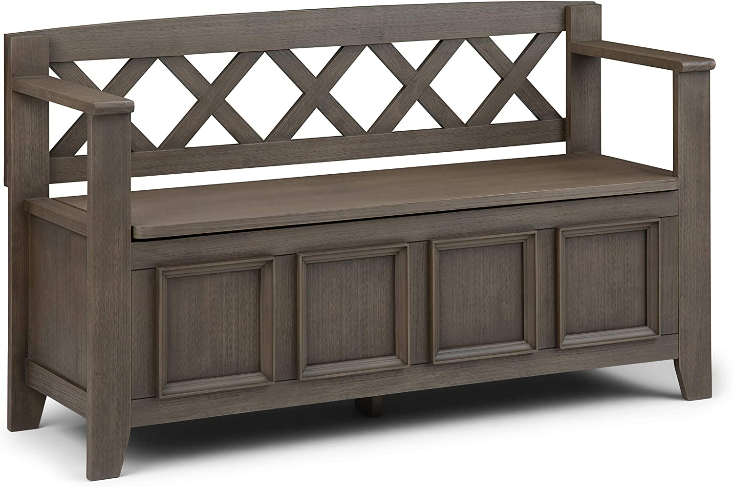 SIMPLIHOME Amherst SOLID WOOD 48 inch Wide Entryway Storage Bench with Safety Hinge, Multifunctional, Transitional, in Farmhouse Grey