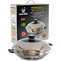COOK KING 32cm Triply Stainless Steel Dual-Honeycomb Nonstick Wok/Stir Fry Pan with Glass Lid. PFOA Free