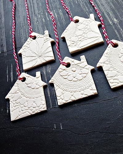 Amazon.com: 5 Christmas Decorations White Ceramic Christmas Tree ...