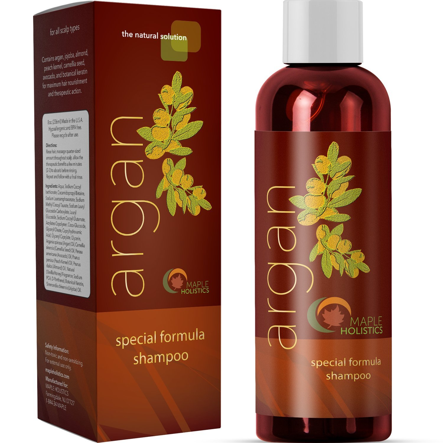 Argan Oil Shampoo, Sulfate Free, 8 oz. - With Argan, Jojoba,