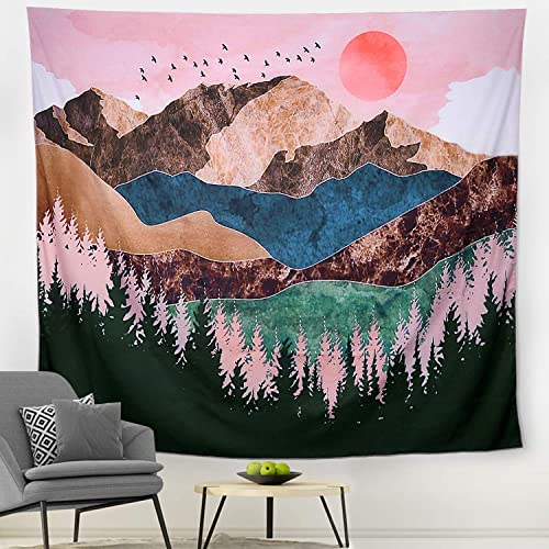 Huishang Tapestry for Rome Decor, Mountain Tapestry Sunset Tapestry Wall Hanging Room Decorations for Living Room Bedroom A, 70.9 90.5