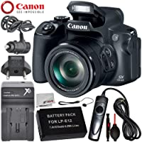 Canon PowerShot SX70 HS Digital Camera with Essential Accessory Bundle – Includes: Extended Life Replacement Battery (LP-E12) + AC/DC Rapid Home and Travel Charger + MORE - International Version (No Warranty)