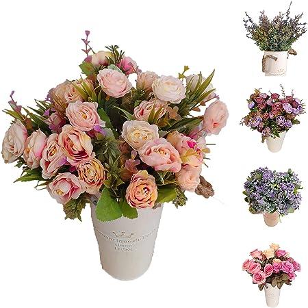 Roses Decoración Jarrones Flores Artificiales Decorativas para Boda Eventos, Plantas Artificiales Decorar El Hogar Tienda Oficina Decoración Jardín Cocina Terraza Masetas(Rosas, Flor Pequeño Pack 3): Amazon.es: Hogar