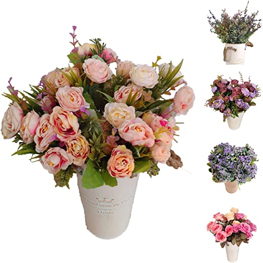 Flores Artificiales Rosas con Hojas Sensación Real Decoración Hogar Jardín Hotel Tienda Ideal para la Boda Fiestas Eventos Jarras Macetas (Rosa, Pack 12 Ramos): Amazon.es: Hogar