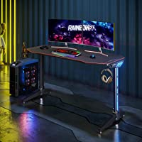 ELEGANT Gaming Desk LED,Gaming Table,PC Gamer Desk with RGB Light, Full Cover Mousepad,Cup Holder and Headphone Hook…