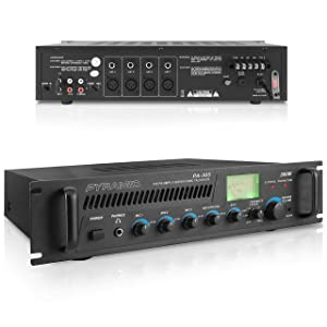 300W Max Pro Audio Amplifier - 70V Multi-Channel Stage & Studio PA Speaker, Public Address Amplifier Receiver with XLR Microphone Inputs, Mic Talkover, Universal Rack Mount Design - Pyramid PA305.5