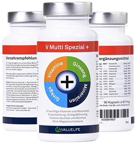 22 vitaminas&minerales en un solo producto para la fórmula óptima para el cuerpo y la mente: Ginseng - Ginkgo Biloba VitaminC- vitaminas ...