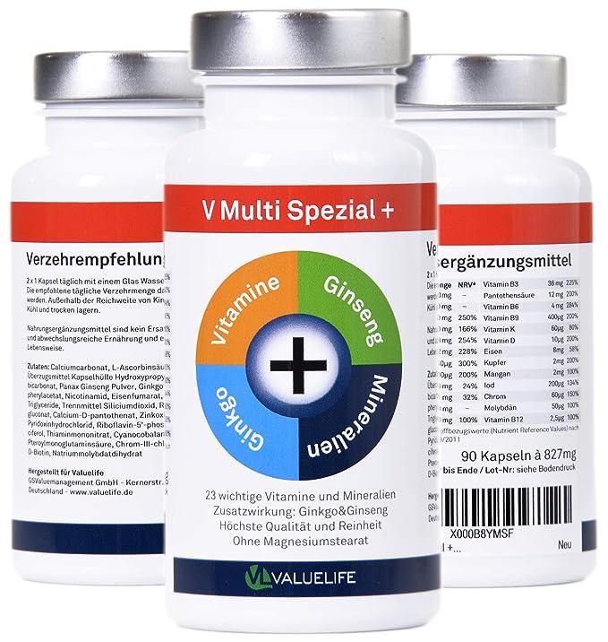 V Multi Special+: multivitamínico y multimineral + Ginkgo Biloba + Ginseng! 22 vitaminas&minerales en un solo producto para la fórmula óptima para el cuerpo ...