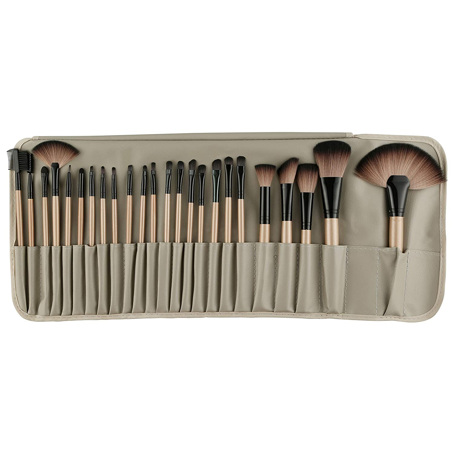 3). ROZIA 24pcs Makeup Brush Set, 24 Professional Makeup Brushes Kit Wooden Handle With Leather Pouch