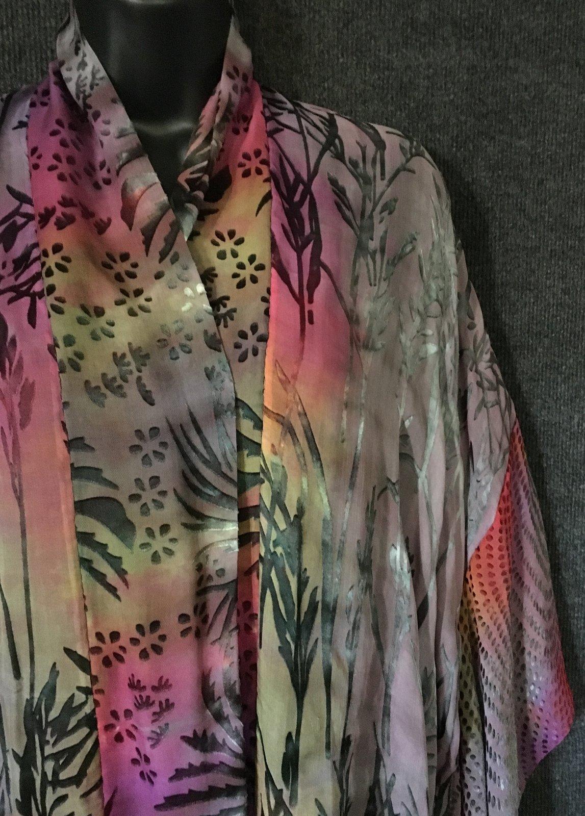 Kimono Scarf Jacket Hand Dyed Grey Color Mix