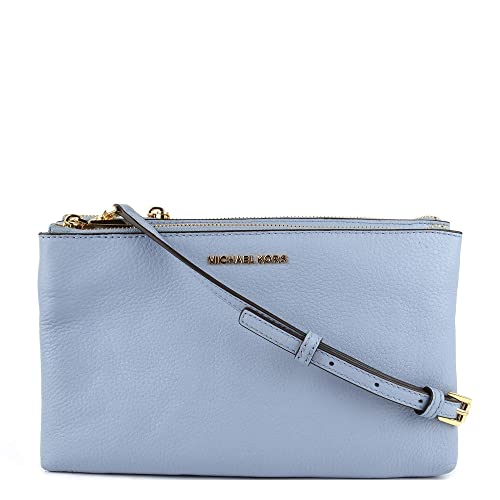 31b111b3260e MICHAEL by Michael Kors Adele Pale Blue Leather Double Zip Crossbody Bag  one size Oyster