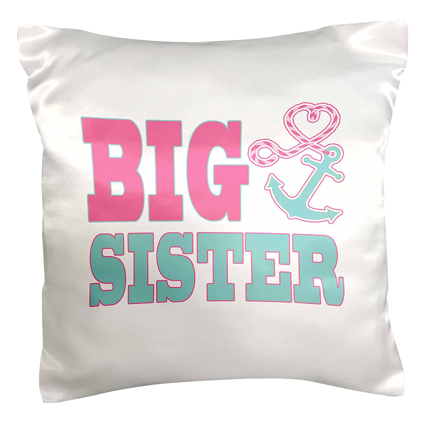 3dRose pc_165882_1 Big Sister Cute Anchor and Heart Rope Pink and Aqua Pillow Case, 16' x 16'