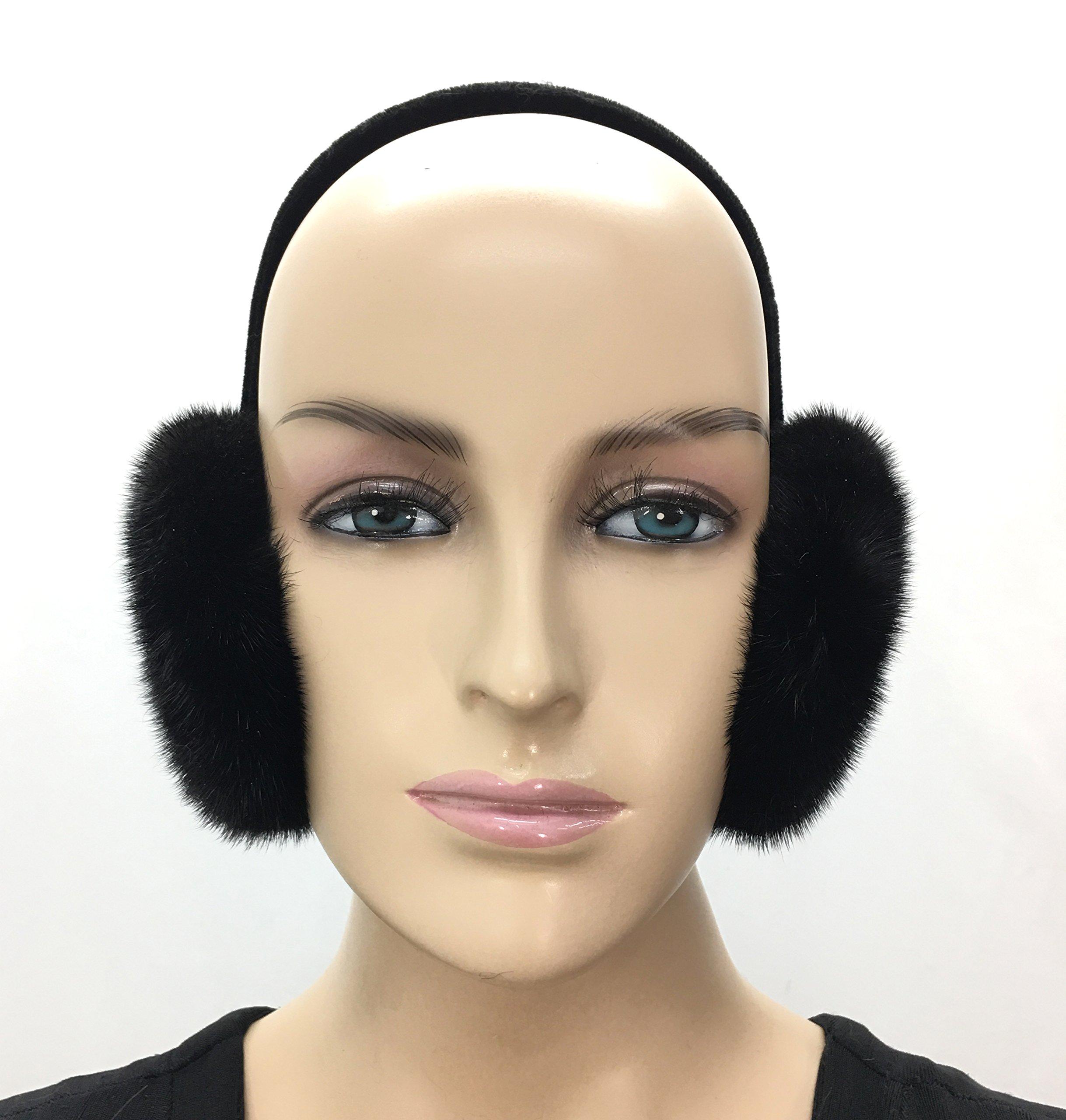 Mink Fur Earmuffs Black