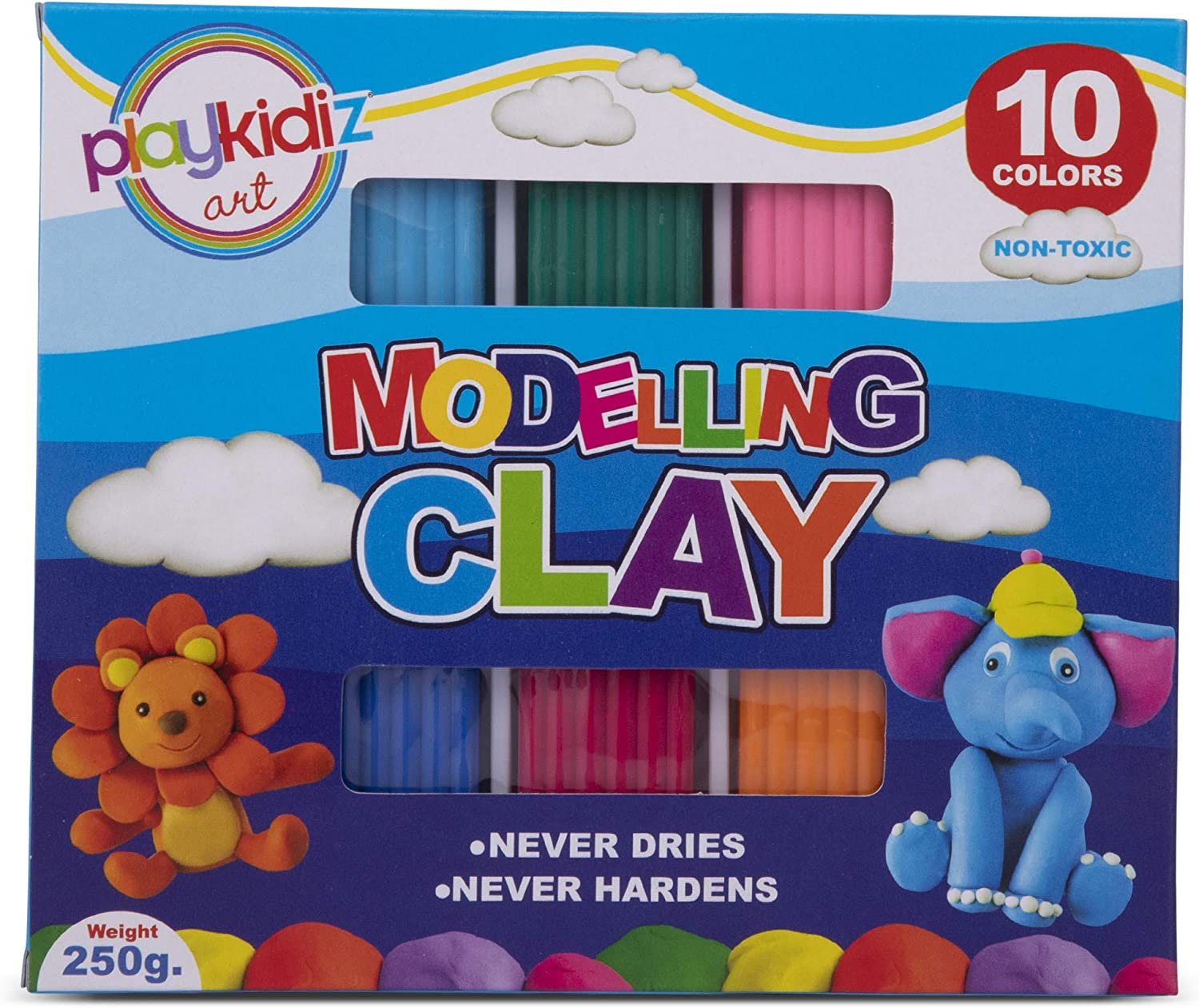 Playkidiz Art Modeling Clay Tools, Assorted Moulds and Colors STEM Educational DIY Molding Set, at Home Crafts for Kids (3114)