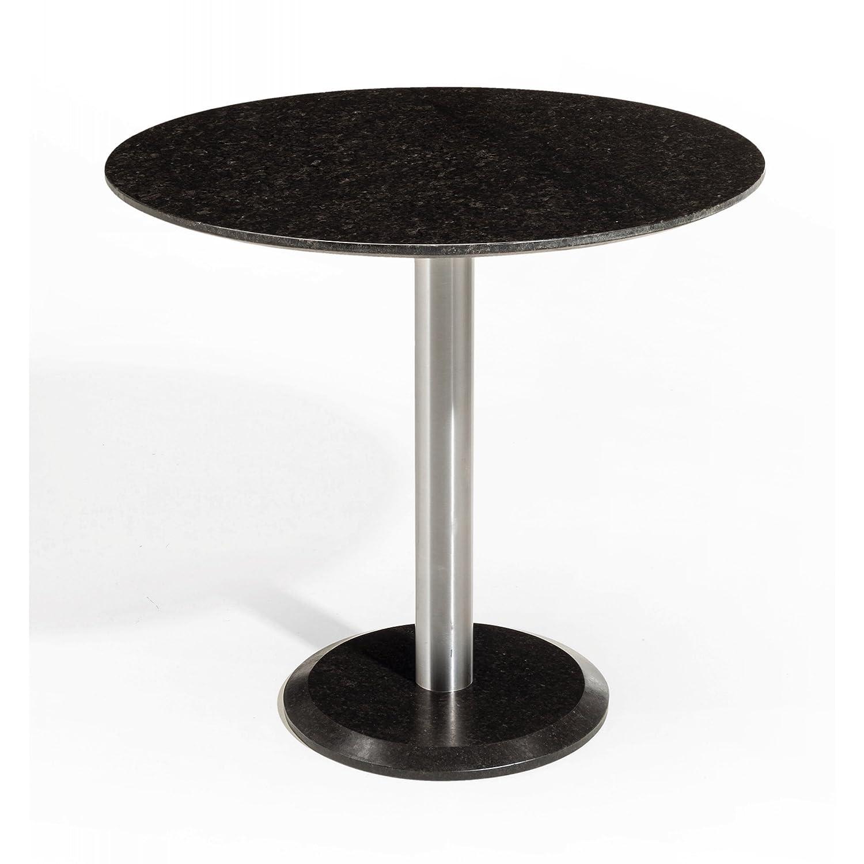 Studio 20 Edam Gartentisch rund ø 80 cm Outdoortisch Granittisch Edelstahl Tischplatte Pearl black satiniert