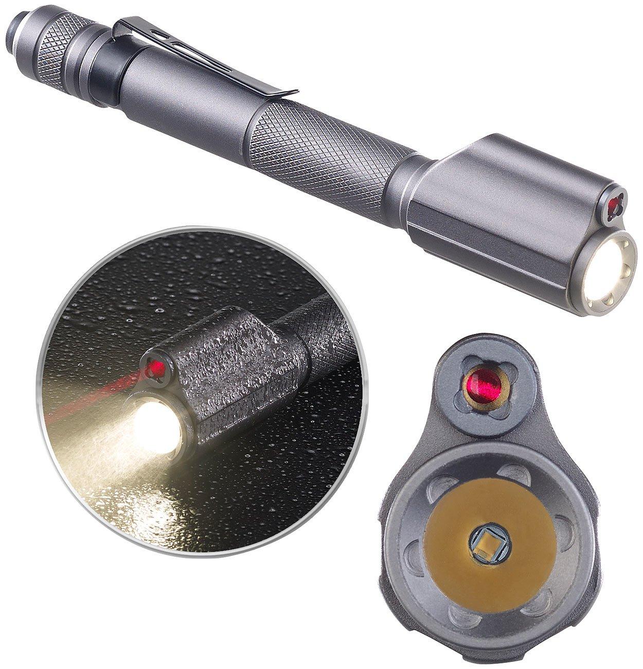 KryoLights Presenter: 2in1-Profi-Pen-Light, LED-Taschenlampe & Laser-Pointer, 110 lm, 3 W (Taschenlampe mit Laserpointer)