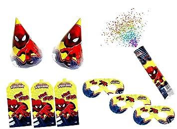 Spiderman Birthday Party Caps Invitation Card Eye Mask For
