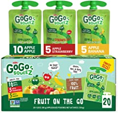 GoGo squeeZ Fruit on the Go Variety Pack, Apple Apple, Apple Banana, & Apple Strawberry, 3.2 oz. (20 Pouches) - Tasty Kids Ap