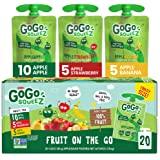 GoGo squeeZ Fruit on the Go Variety Pack, Apple, Banana, & Strawberry, 3.2 oz. (20 Pouches) - Tasty Kids Applesauce Snacks -