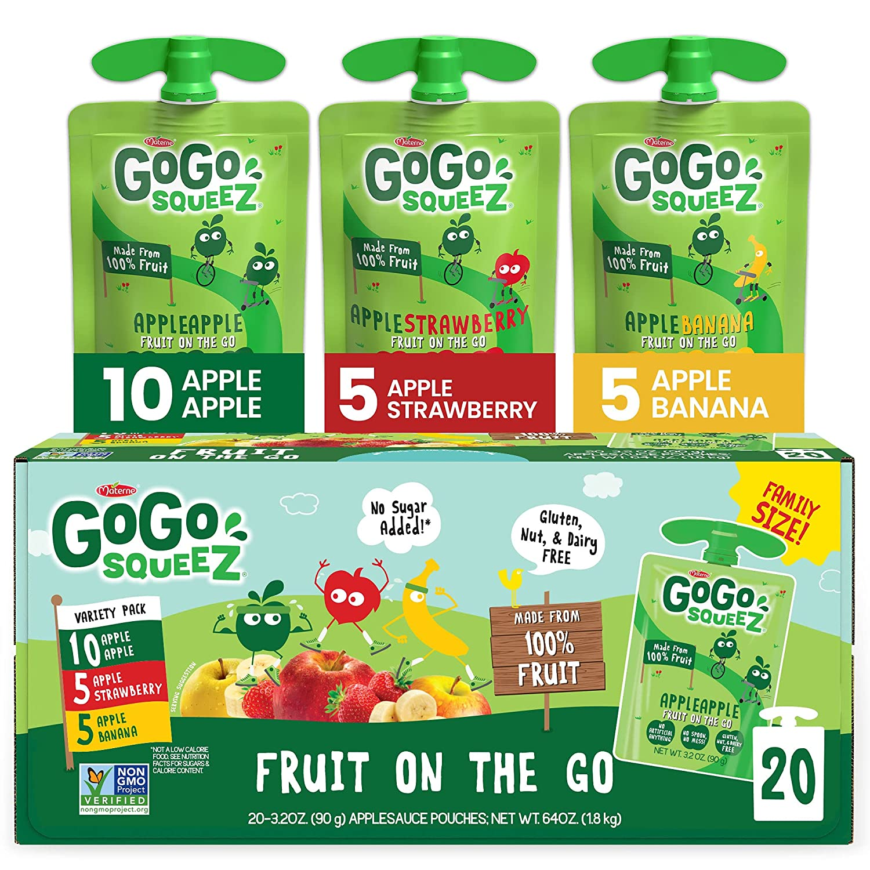 GoGo squeeZ Fruit on the Go Variety Pack, Apple, Banana, & Strawberry, 3.2 oz. (20 Pouches) - Tasty Kids Applesauce Snacks - Gluten Free Snacks for Kids - Nut & Dairy Free - Vegan Snacks