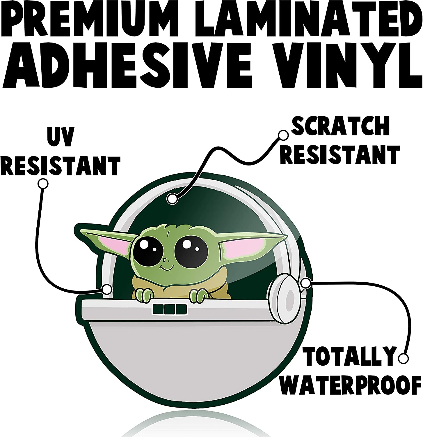 Waterproof Vinyl Sticker for Your Car Truck or Laptop Baby Yoda Self Adhesive Car Decal 2 Pack