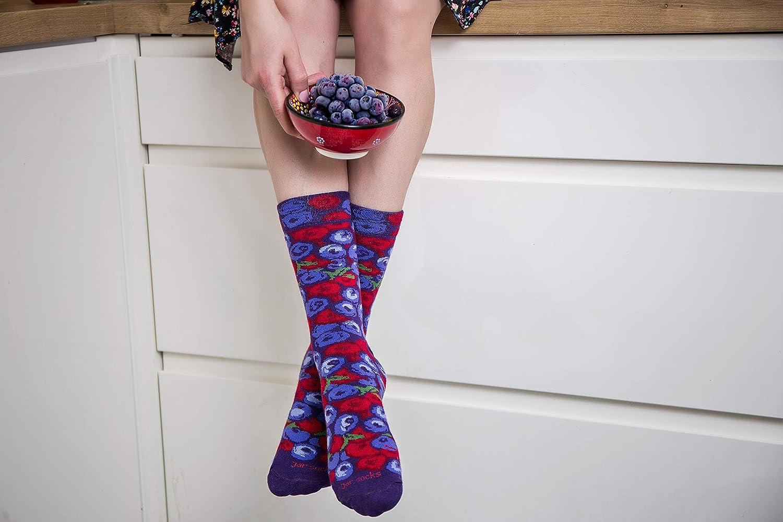 2 paia di calzini coloriti come un barattolo con mirtilli e pereidea originale per regalo qualit/à speciale di produzione europea Cotone con OEKO-TEX Buon gadget con sorriso Rainbow Socks
