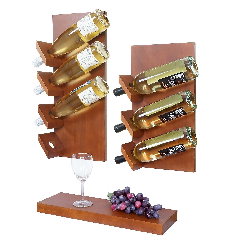 /étag/ère Murale pour 7 Bouteilles Bois deucalyptus /Étag/ère /à vin MONS Lot de 3
