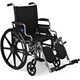 """Medline Lightweight & User-Friendly Wheelchair With Flip-Back, Desk-Length Arms & Elevating Leg Rests for Extra Comfort, Gray, 18"""" Seat"""