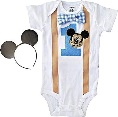 Amazon.com: Body para bebé de 1er cumpleaños de Mickey Mouse ...