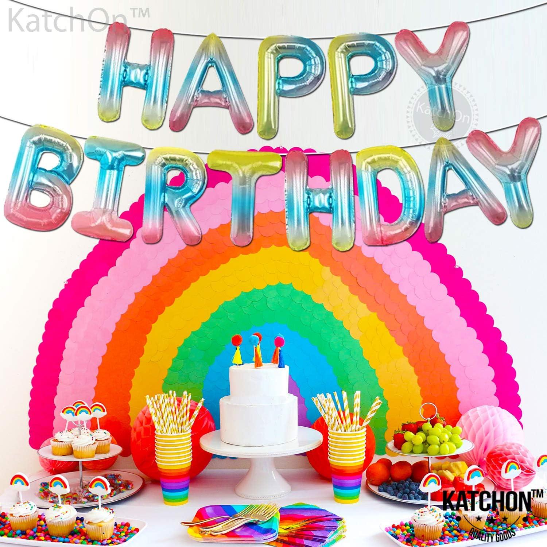 Rainbow Happy Birthday Foil Letter Balloons 16 inch Rainbow Theme Birthday Decorations Rainbow Happy Birthday Balloon Letters Large Colorful Gradient Happy Birthday Big letters for girls