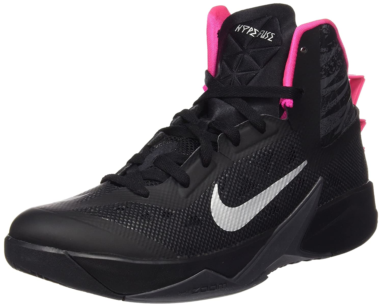 Nike Mens Zoom Hyperfuse 2013 Basketball Shoes B00BY9K29A 10.5 D(M) US|Blck/Mtllc Slvr/Drk Gry/Pnk Fl