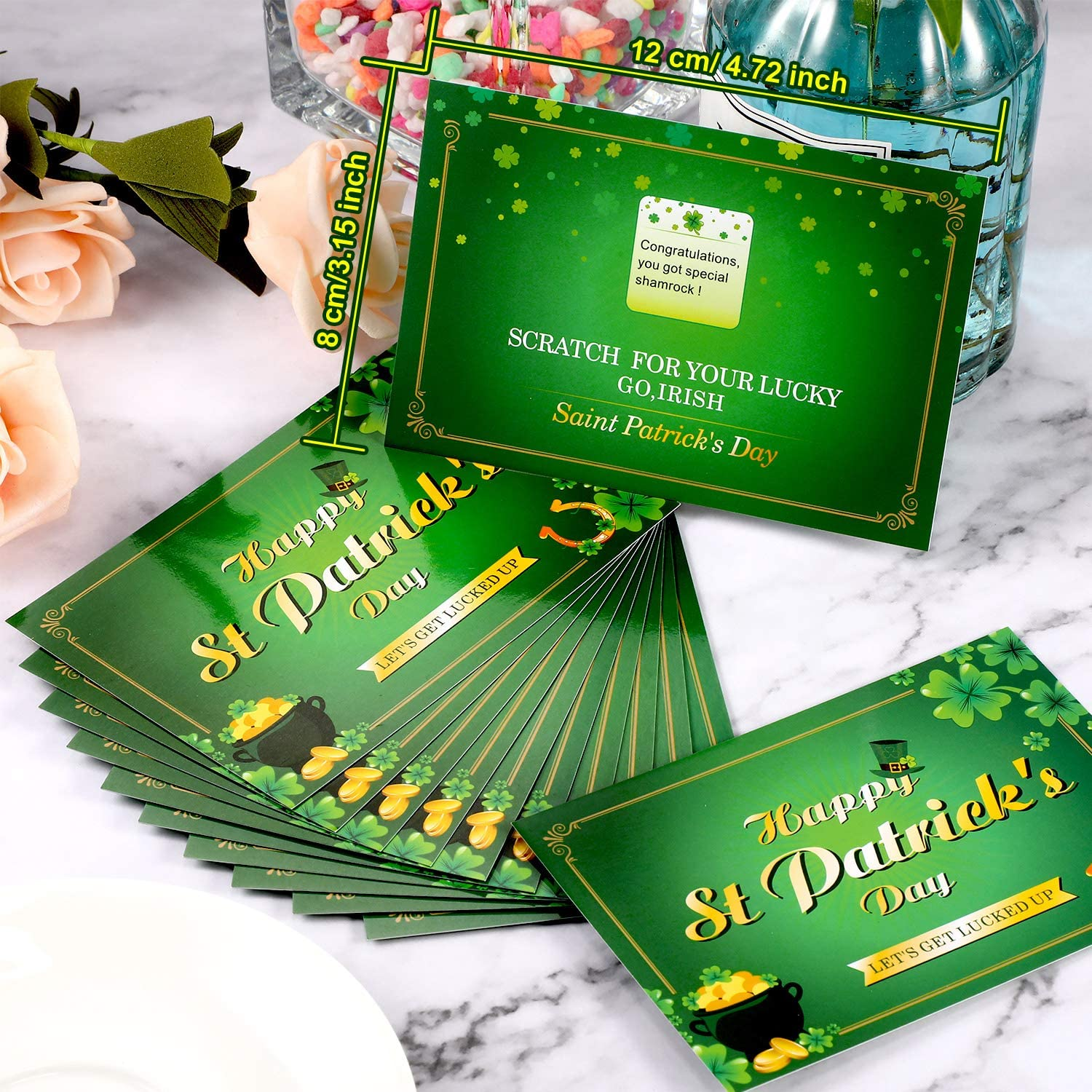 Patricks Day Fortune Cards 72 Pieces St 2 Sets Shamrock Irish Lucky Scratch Off Games Laminated Fortune Teller Cards Leprechaun Shamrock Irish Lucky Scratch Off Games for Party Supplies Activity