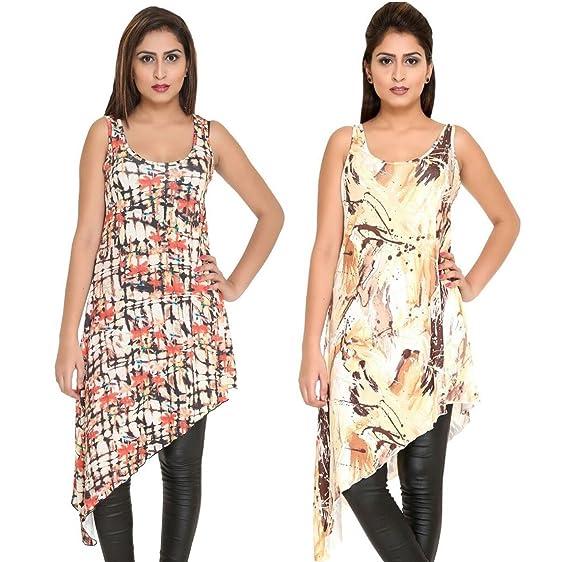 ec7185c5cdf1c Hikes Women Western Wear Sleevless Designer Long Top Combo Tunic Fashion  Dress for Summers DE-