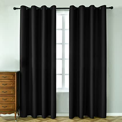 LOHASCASA Insulating Blackout Curtains Large Livingroom - Floor Length 52 x  95 Inch Black 1 Panel