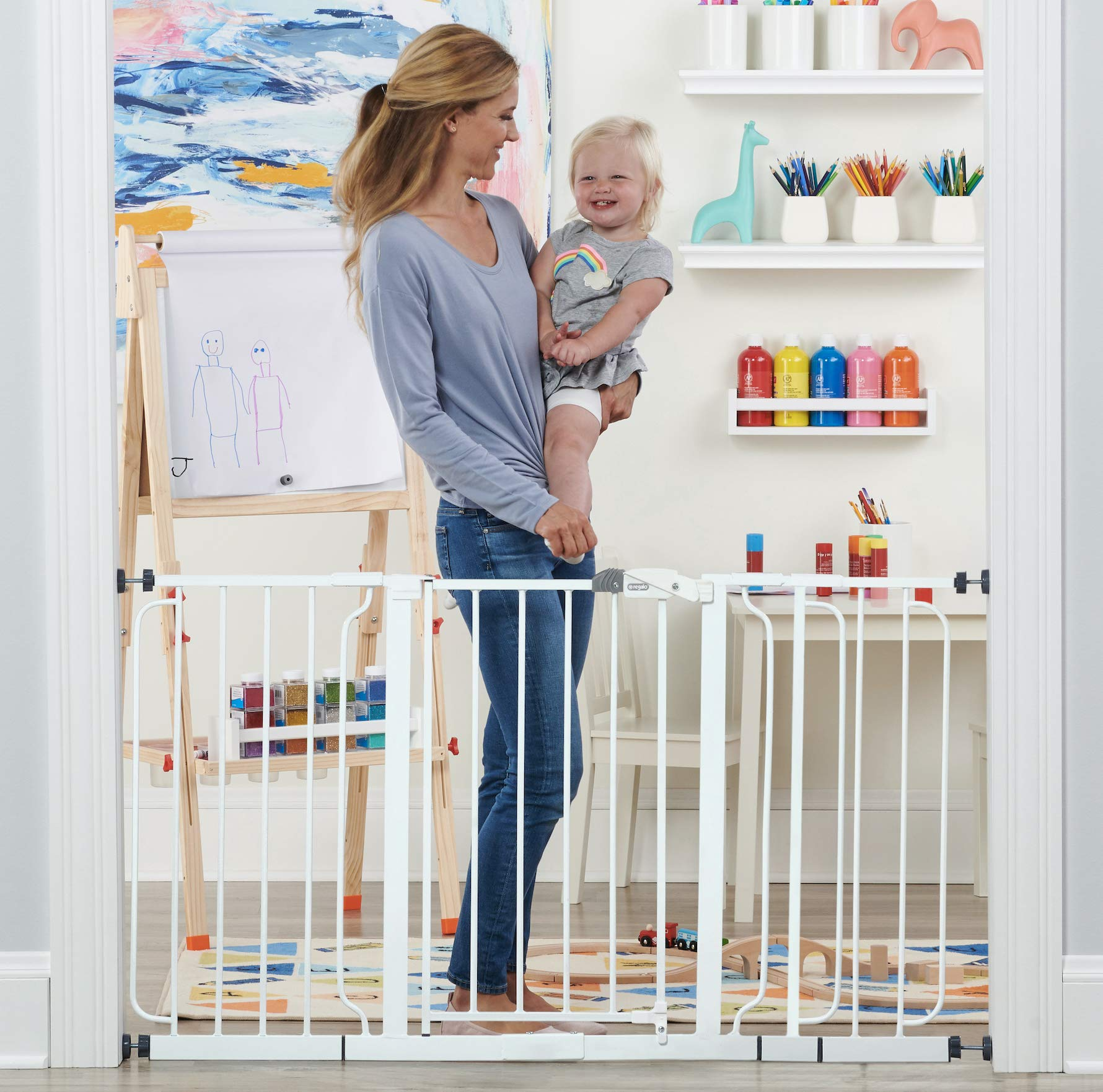 Regalo 56-Inch Extra WideSpan Walk Through Baby Gate, Bonus Kit, Includes 4-Inch, 8-Inch and 12-Inch Extension, 4 Pack of Pressure Mounts and 4 Pack of Wall Cups and Mounting Kit by Regalo