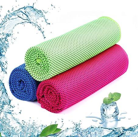 Imagen deSKL - Juego de 3 Toallas Deportivas de Microfibra de Secado rápido para Golf, natación, Yoga, fútbol, Running y Entrenamiento (36 x 12 Pulgadas), Color Verde