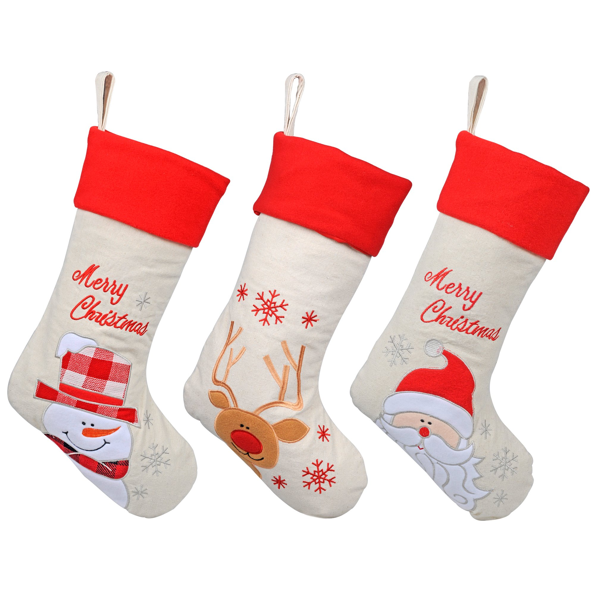 KI Store Christmas Stockings Burlap Set of 3 for Kids Goody Gift Bags Ornaments 17'' Classic Xmas Snowman Jolly Santa Red-Nosed Reindeer Decorations Decor