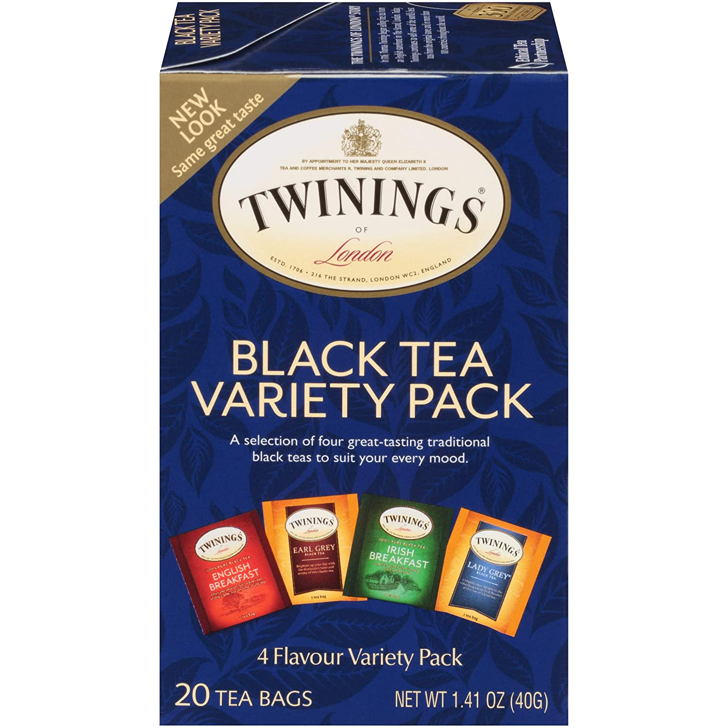 Twinings of London Classics Black Tea Variety Pack, 20 Count, Pack of 6