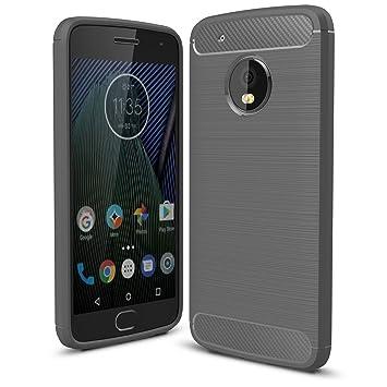 IVSO Funda Motorola Moto G5 Slim Soft Silicon Shockproof Caso de Lujo con Cubierta de Textura de Fibra de Carbono Cubierta de protección de Silicona ...