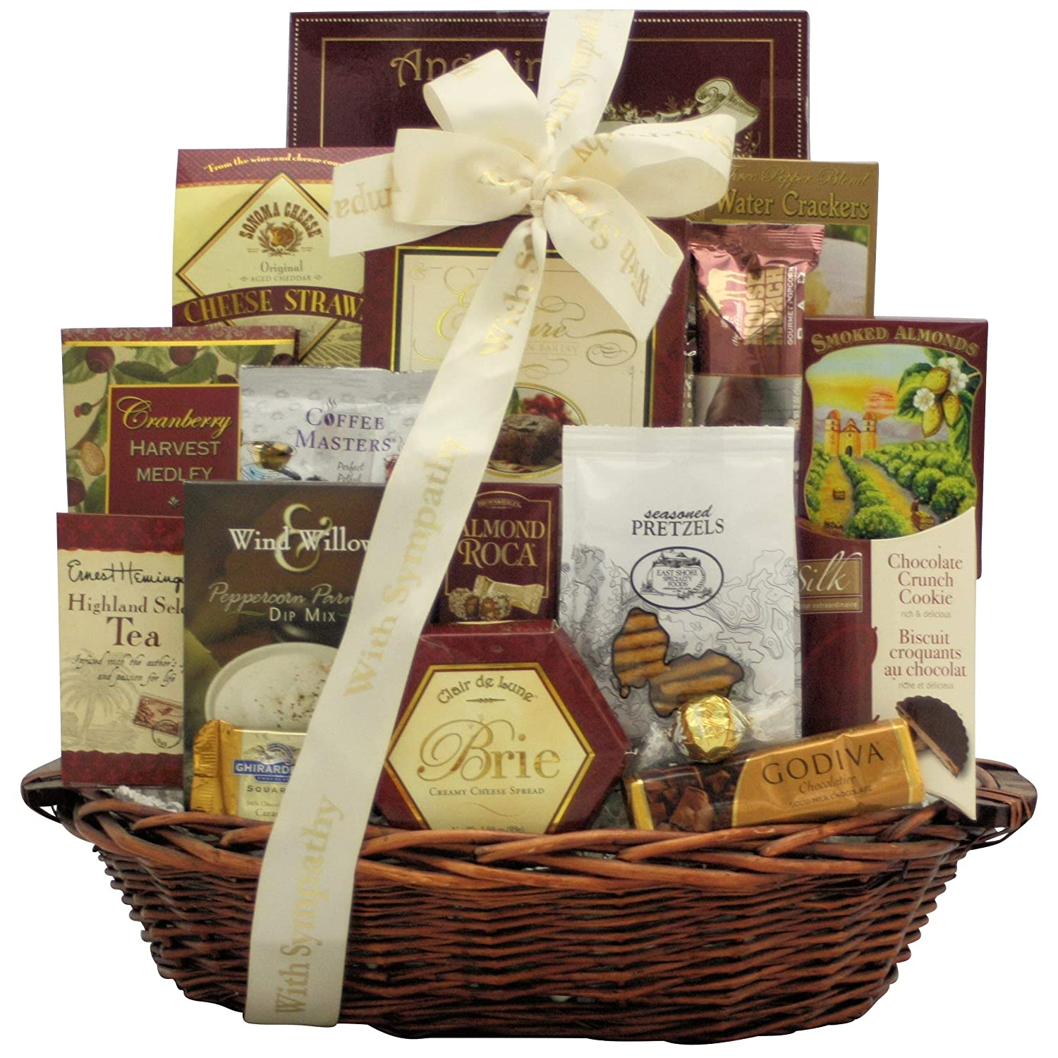 Amazon.com : Our Sincere Condolences: Sympathy Gift Basket : Gourmet Snacks And Hors Doeuvres Gifts : Grocery & Gourmet Food