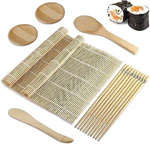 Foonii Sushi Making Kit, Beginner Sushi Roller Set, Bamboo Sushi Mat, all-in-one Sushi Making Set, Sushi Rolling Mat with 5 Pairs of Chopstick/Paddle/Spreader/2 Sauce Dish (11 pcs)