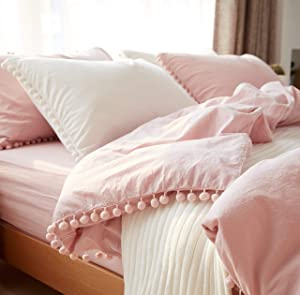 Softta Girls Bedding Pink Duvet Cover Full 3 Pcs Ruffle Pom-Fringe Pompoms Bohemian Bedding 100% Washed Cotton Boho Baby Teen Girls Bed Cover