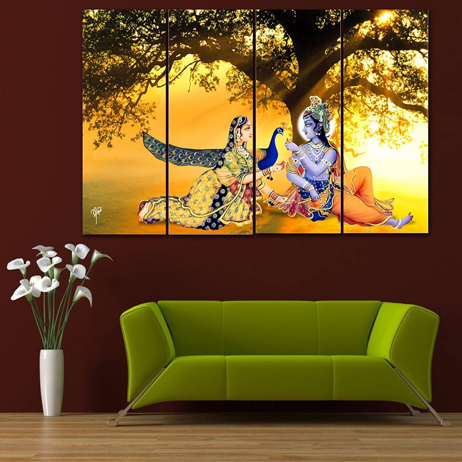 Wall stickers radha krishna - Ray D Cor S Multiple Sparkling Radha Krishna Wall Painting 4 Frames 61x91 5 Cm Wall Decor Wall Decals Wall Hangings Home Decor Gift Items