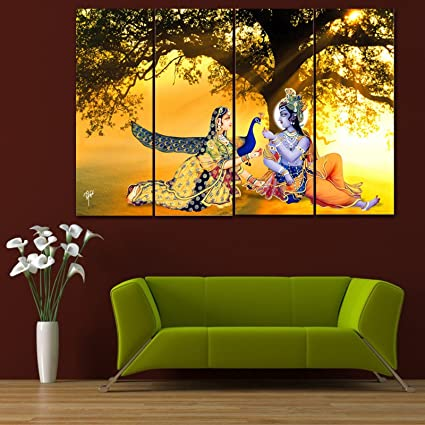 Ray Decor Multiple Sparkling Radha Krishna Wall Painting 4 Frames 61x91 5 Cm Wall Decor Wall Decals Wall Hangings Home Decor Gift Items